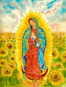 Dedication page illustration for the upcoming fall release of the bilingual version of The Three Sunflowers....The Virgen de Guadalupe was the inspiration for the Gloria character in the book....