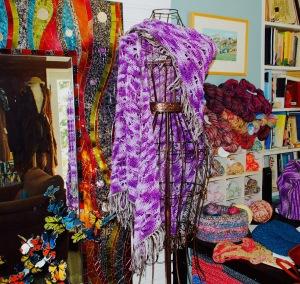 Purple Butterfly Prayer Shawl - mercerized cotton with Spanish flair tassels