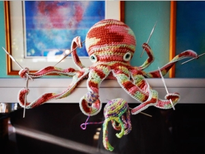 my octopus crocheting a jellyfish